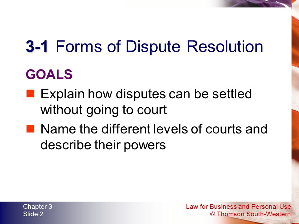 3-1 Forms of Dispute Resolution