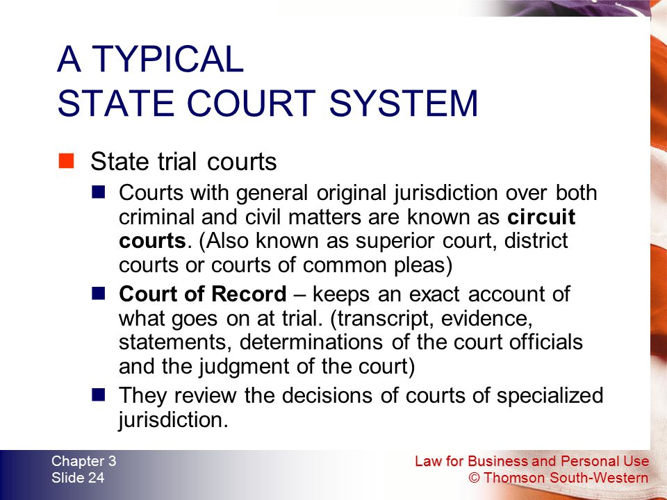 A TYPICAL STATE COURT SYSTEM