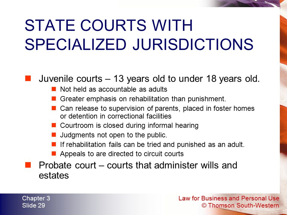 STATE COURTS WITH SPECIALIZED JURISDICTIONS