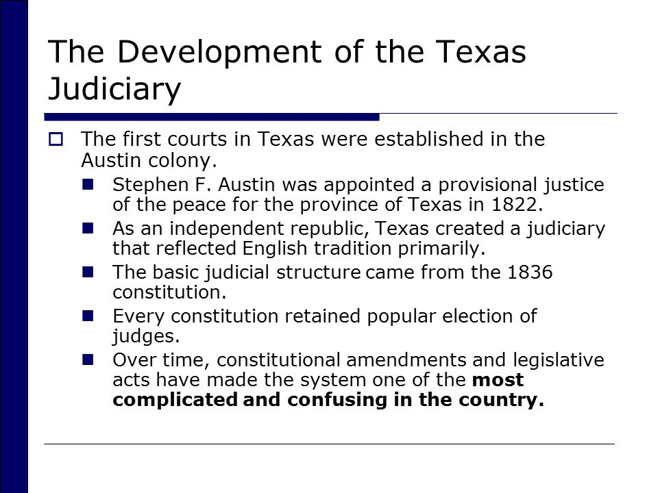 The Development of the Texas Judiciary