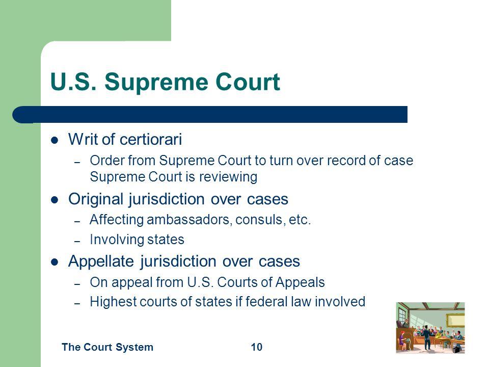 U.S. Supreme Court Writ of certiorari Original jurisdiction over cases