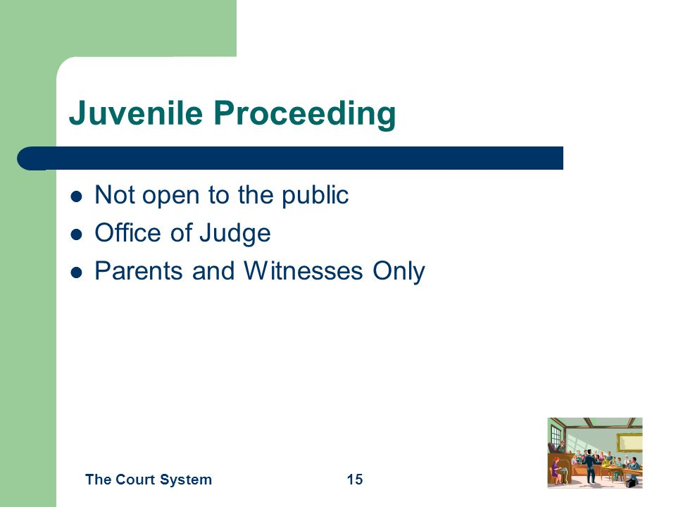 Juvenile Proceeding Not open to the public Office of Judge