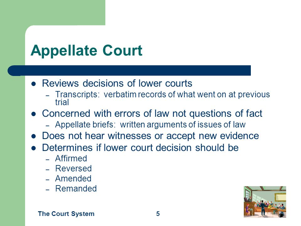 Appellate Court Reviews decisions of lower courts