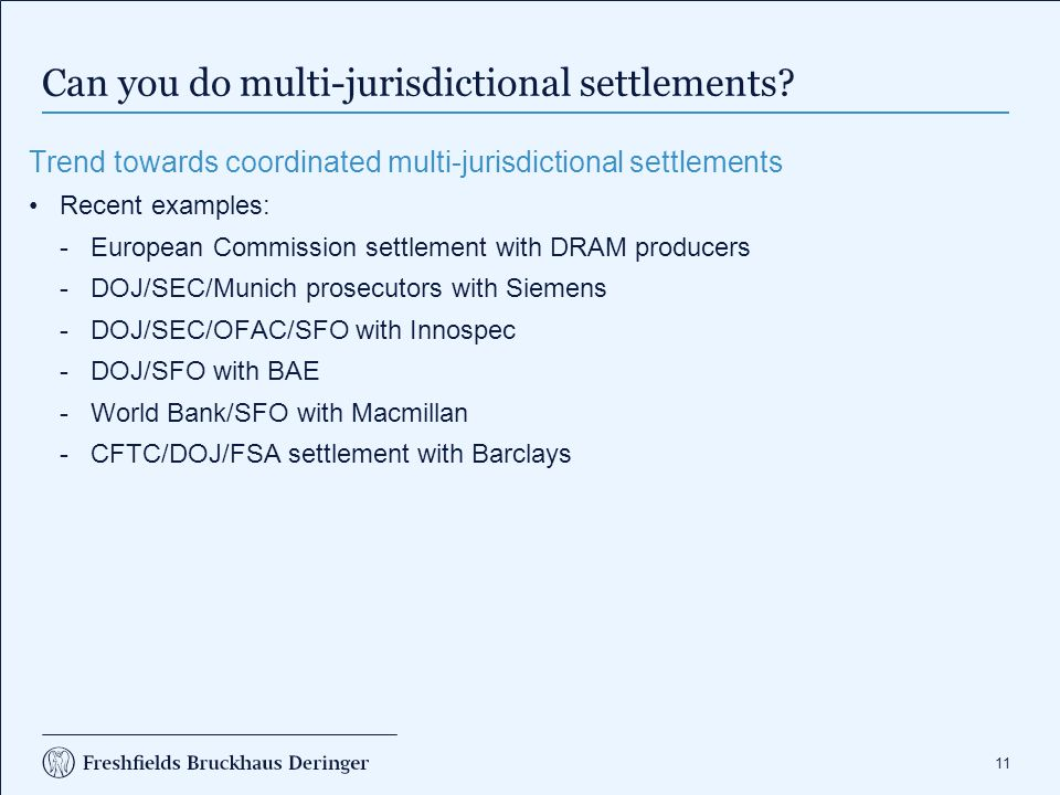 Can you do multi-jurisdictional settlements