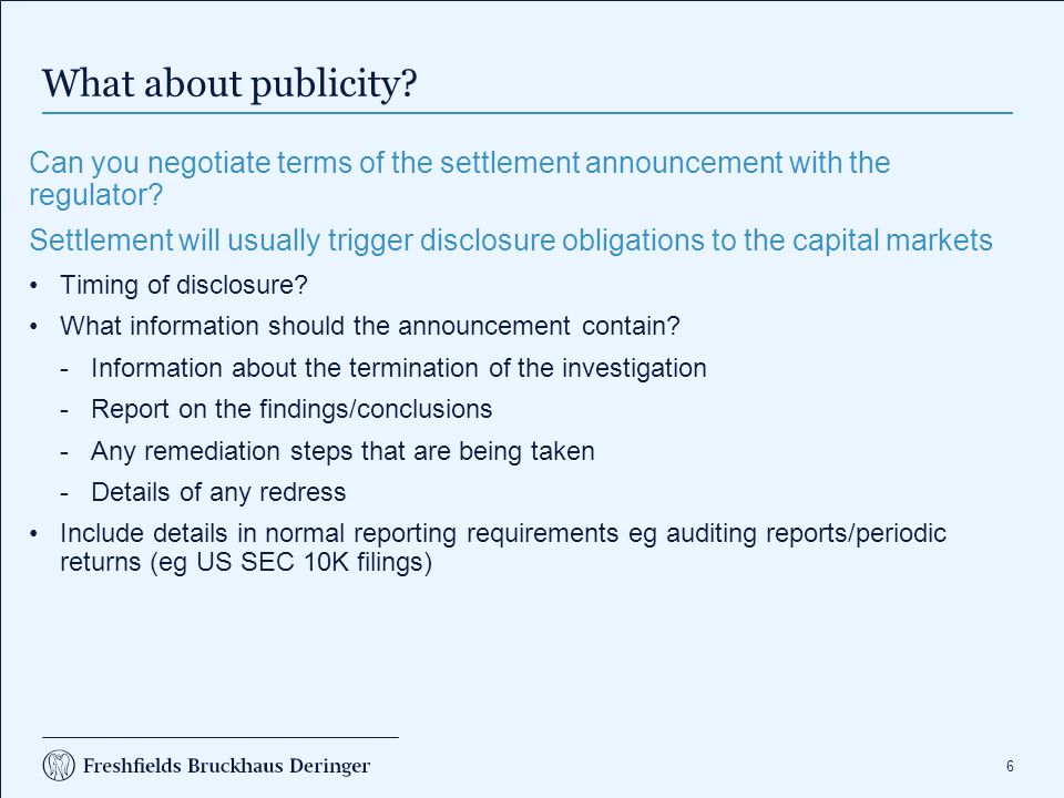 What about publicity Dealing with other interested parties: