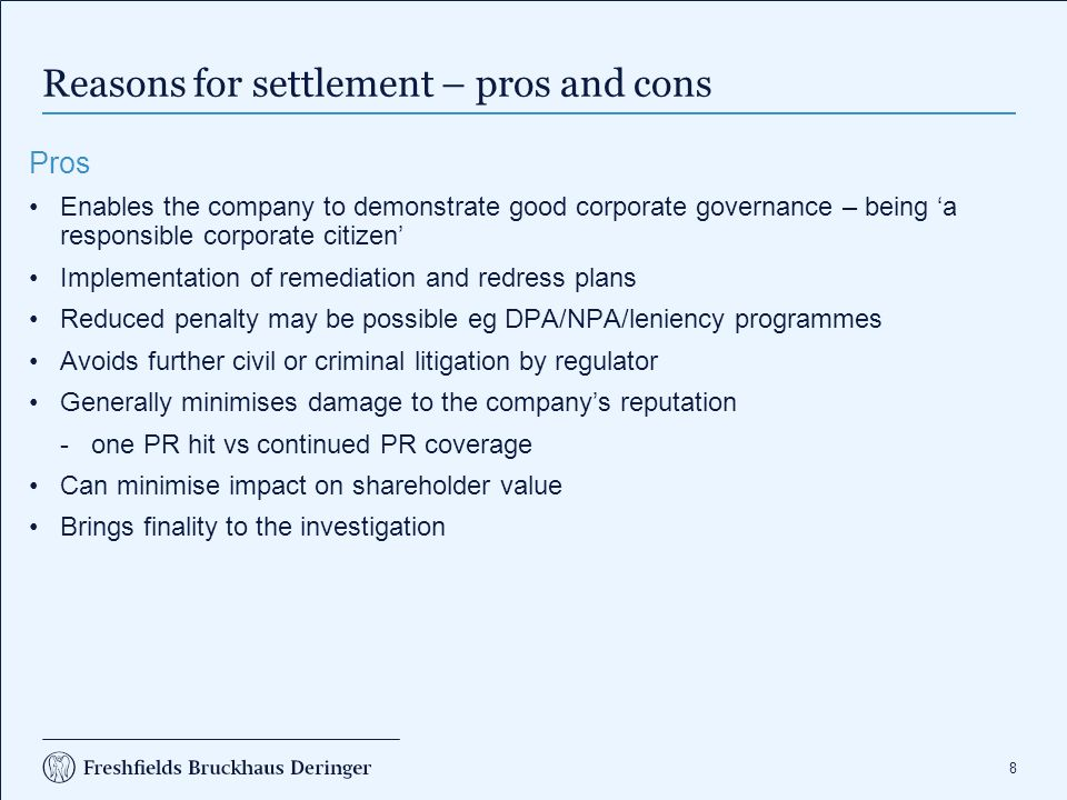 Reasons for settlement – pros and cons