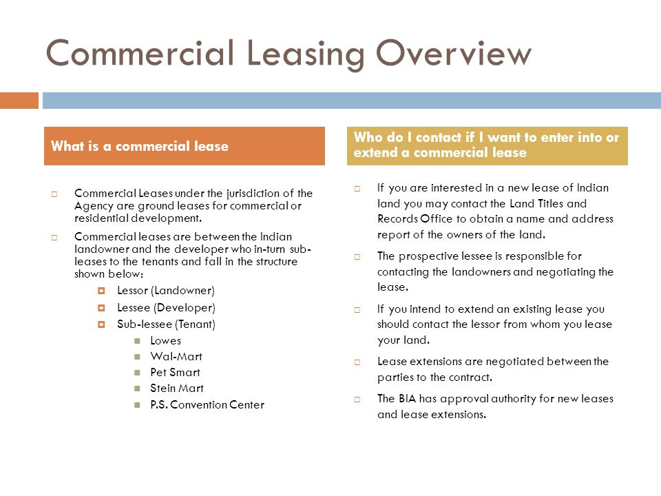 Commercial Leasing Overview