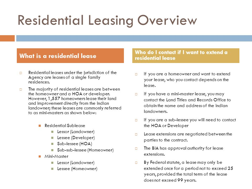 Residential Leasing Overview