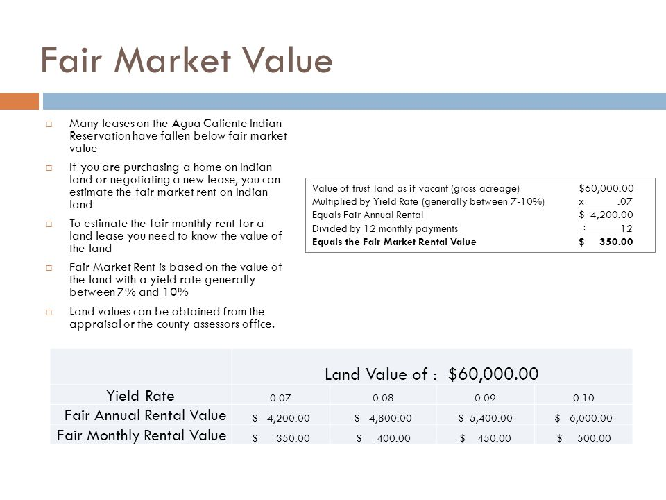 Fair Market Value Land Value of : $60,000.00 Yield Rate