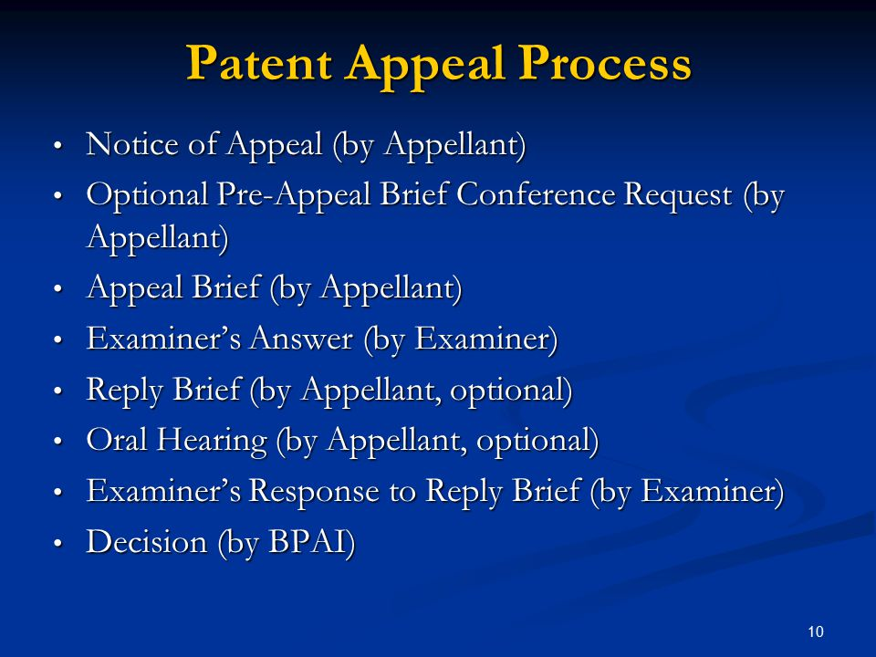Patent Appeal Process Notice of Appeal (by Appellant)