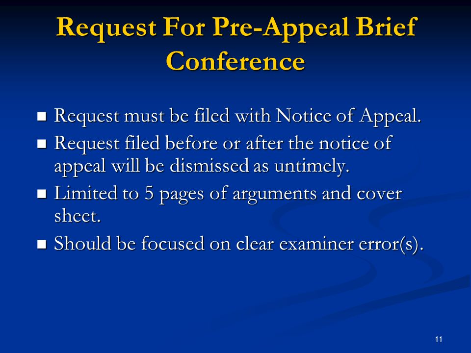 Request For Pre-Appeal Brief Conference