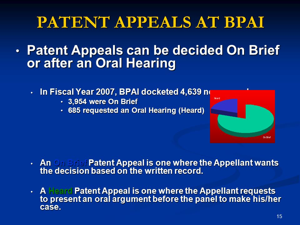 PATENT APPEALS AT BPAI Patent Appeals can be decided On Brief or after an Oral Hearing. In Fiscal Year 2007, BPAI docketed 4,639 new appeals.