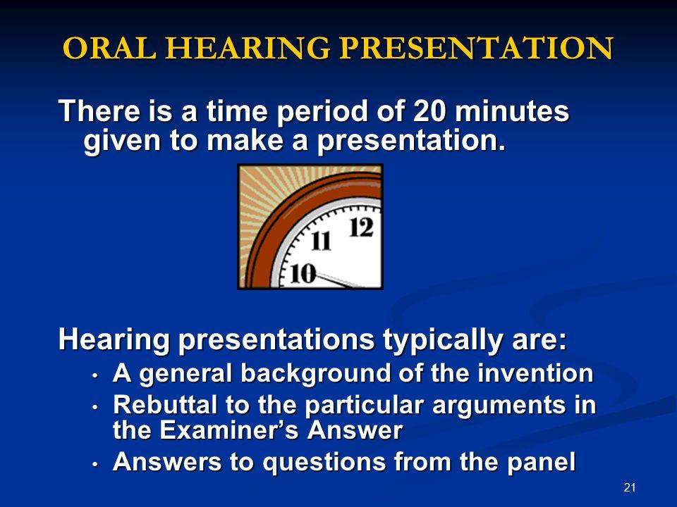 ORAL HEARING PRESENTATION