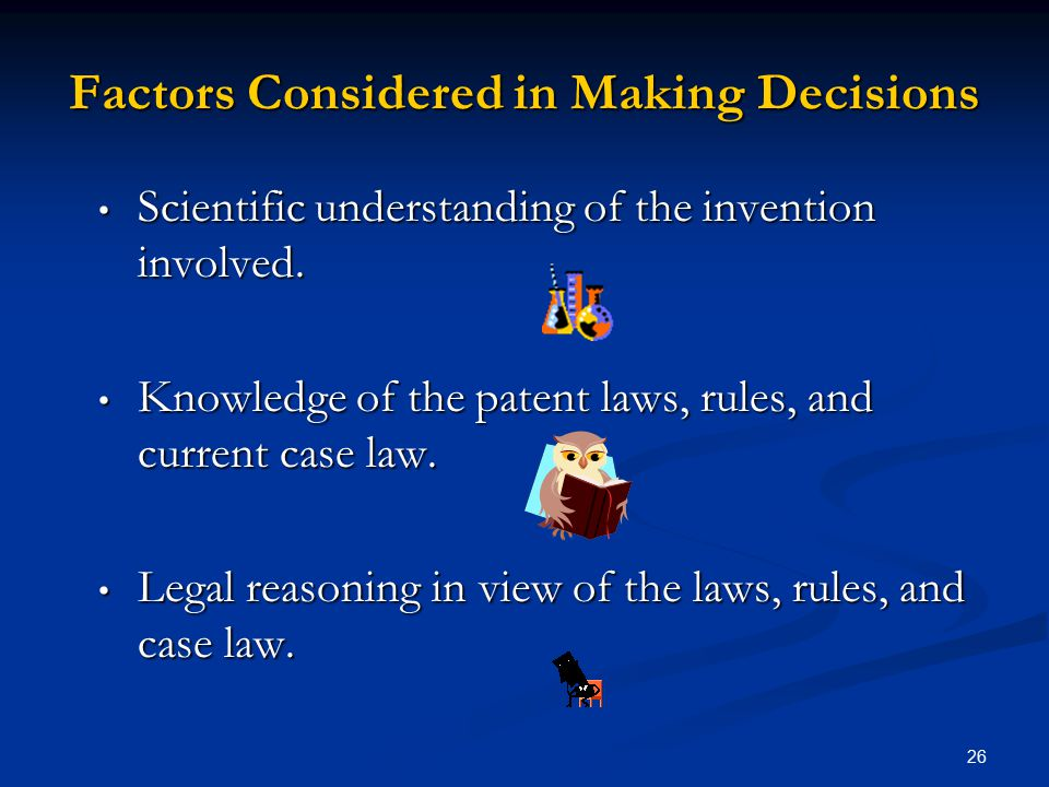 Factors Considered in Making Decisions