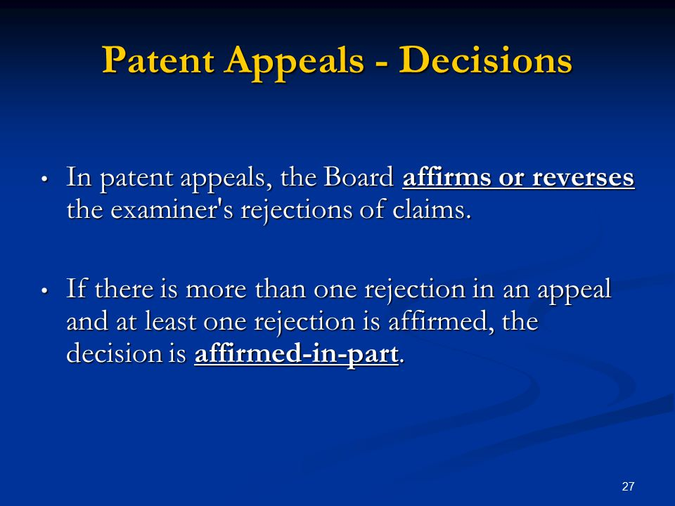 Patent Appeals - Decisions