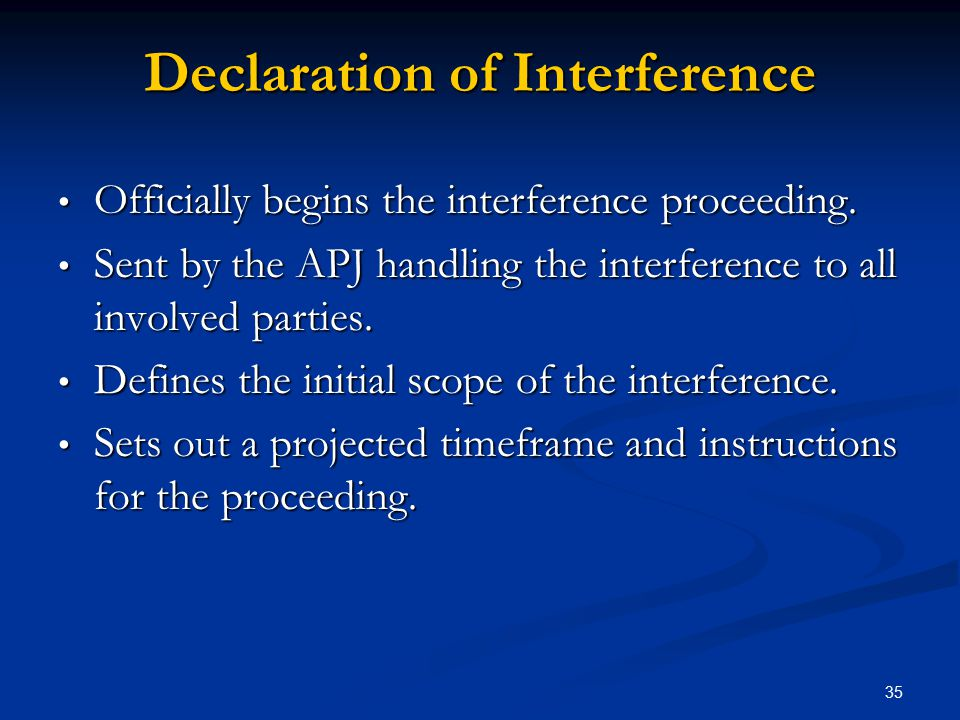 Declaration of Interference