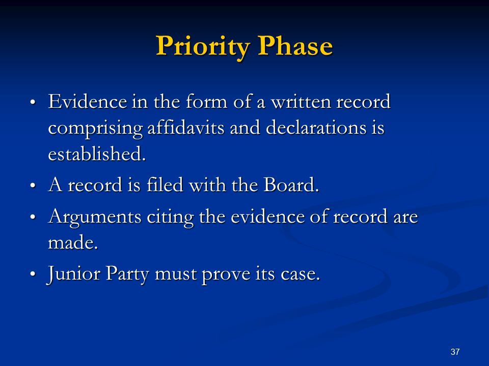 Priority Phase Evidence in the form of a written record comprising affidavits and declarations is established.