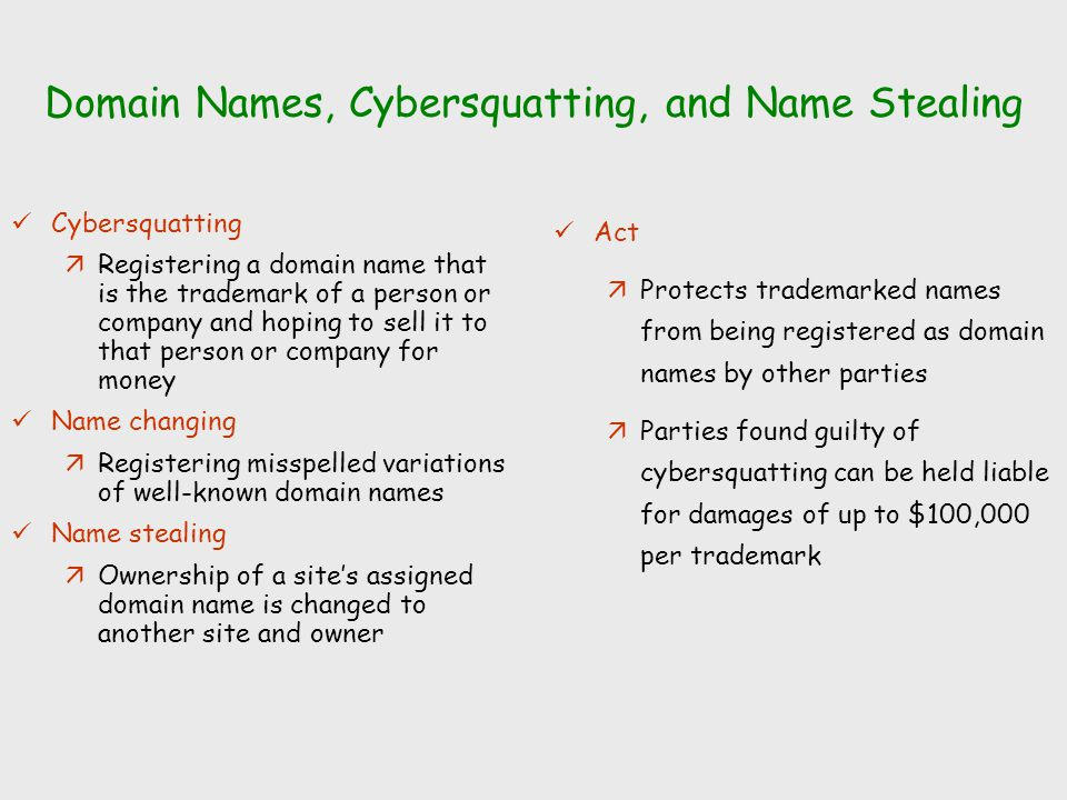 Domain Names, Cybersquatting, and Name Stealing