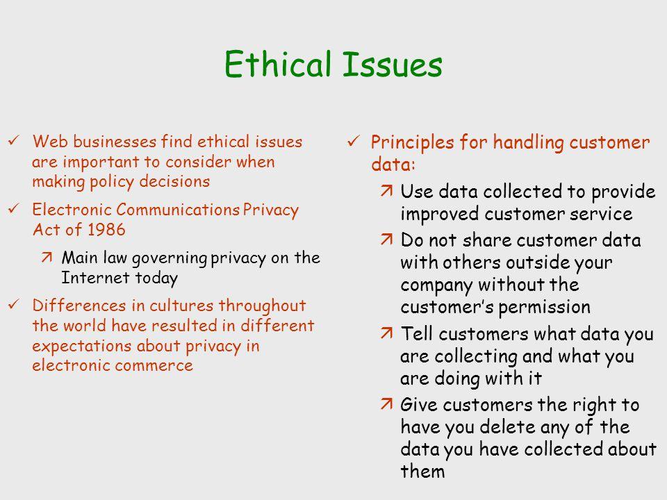 Ethical Issues Principles for handling customer data: