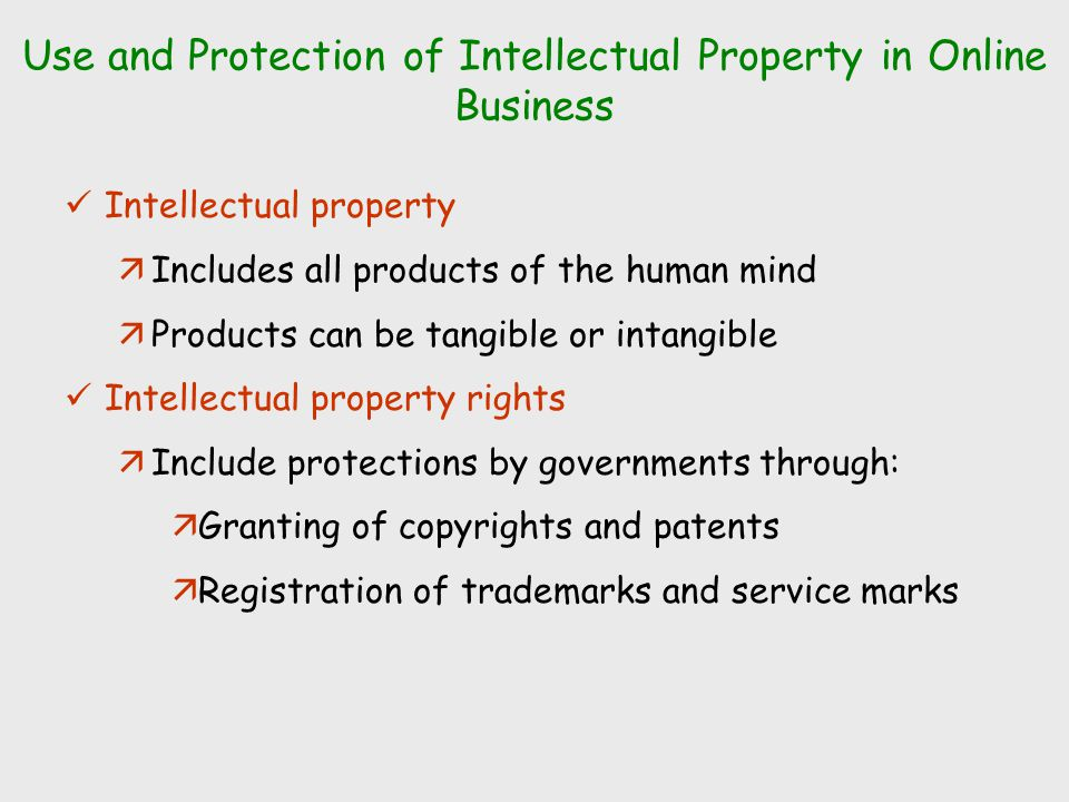 Legal issues of e business to include intellectual property