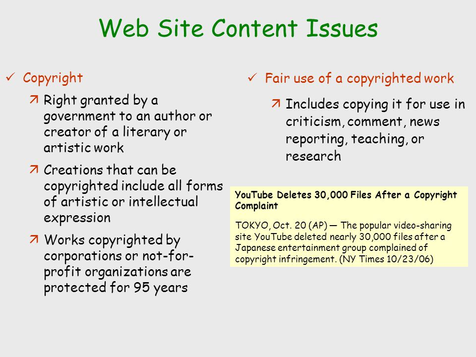 Web Site Content Issues