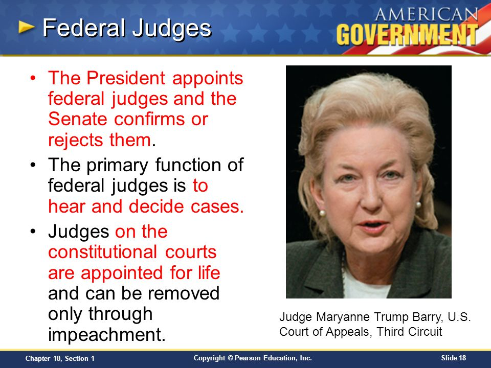 Federal Judges The President appoints federal judges and the Senate confirms or rejects them.