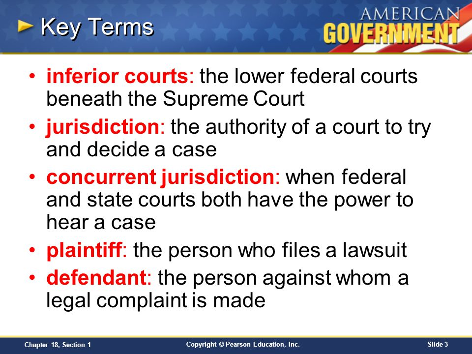 Key Terms inferior courts: the lower federal courts beneath the Supreme Court. jurisdiction: the authority of a court to try and decide a case.