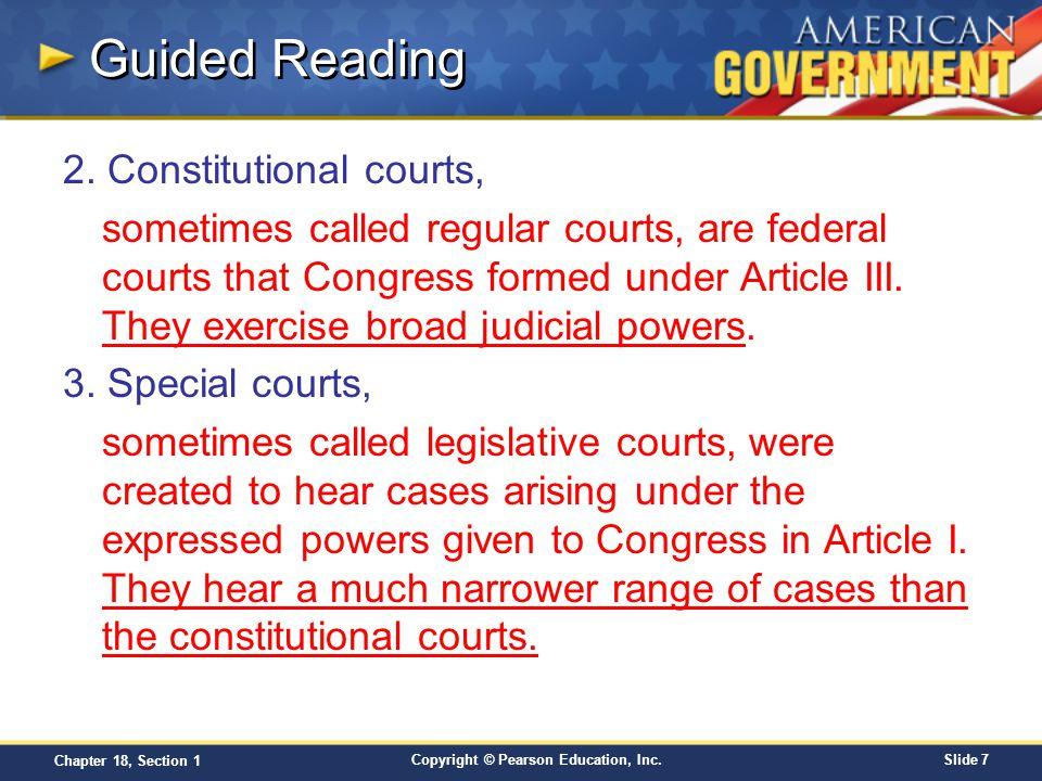 Guided Reading 2. Constitutional courts,