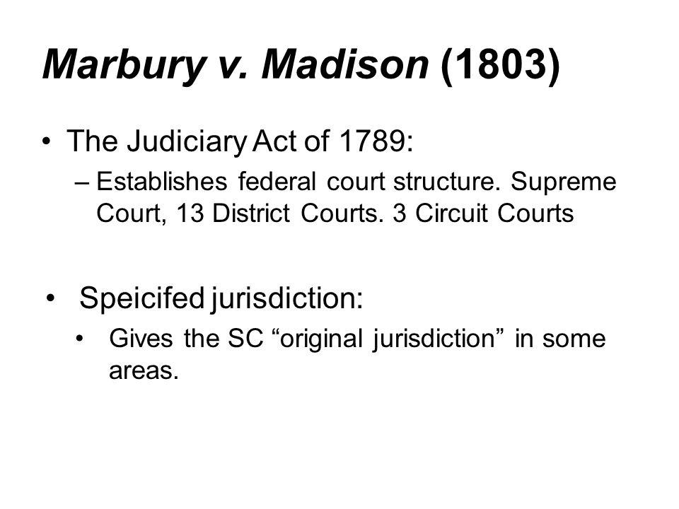 Marbury v. Madison (1803) The Judiciary Act of 1789: