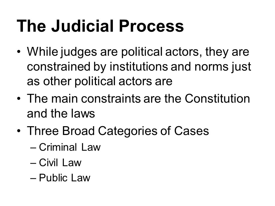 The Judicial Process While judges are political actors, they are constrained by institutions and norms just as other political actors are.