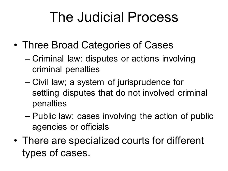 The Judicial Process Three Broad Categories of Cases