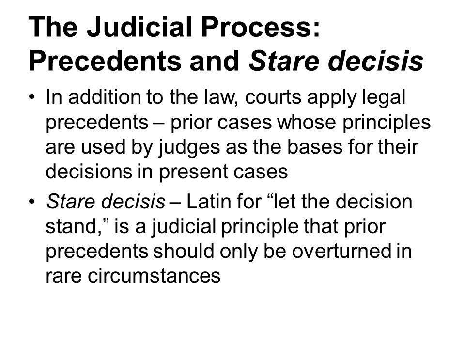 The Judicial Process: Precedents and Stare decisis