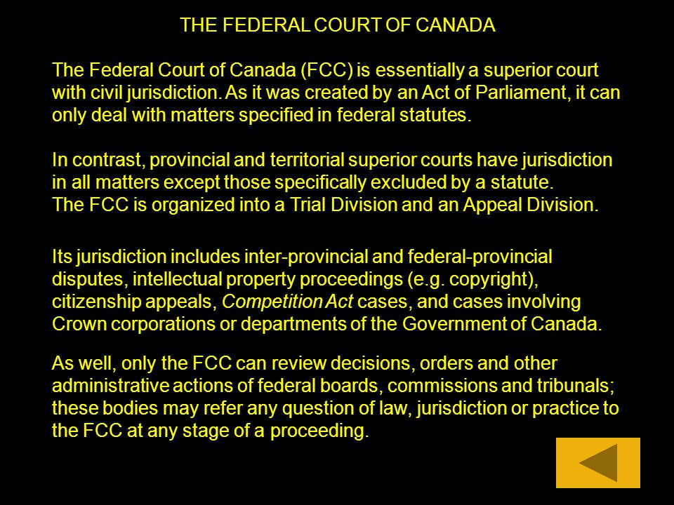 THE FEDERAL COURT OF CANADA