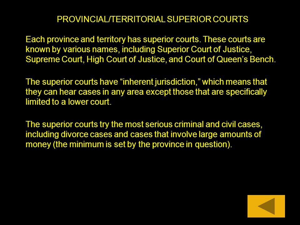 PROVINCIAL/TERRITORIAL SUPERIOR COURTS