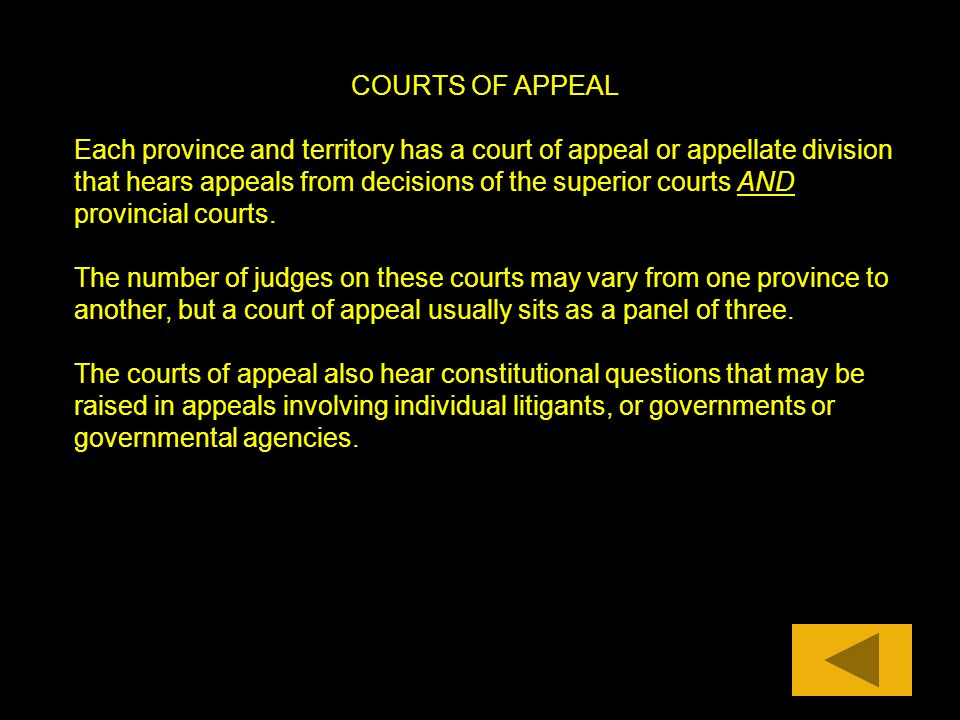 COURTS OF APPEAL