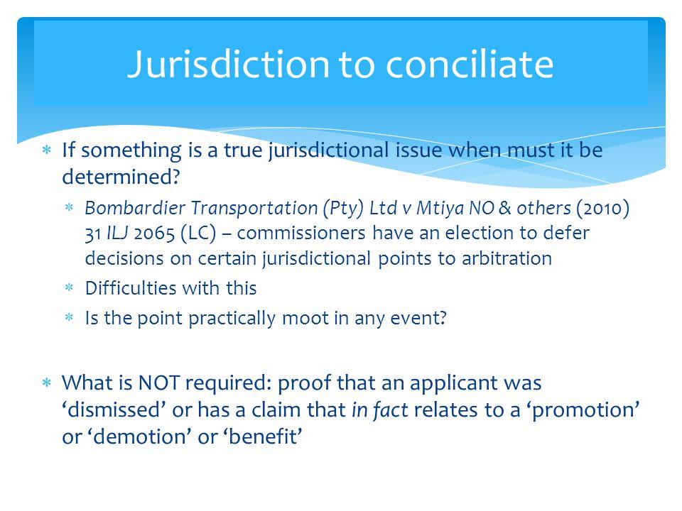 Jurisdiction to conciliate