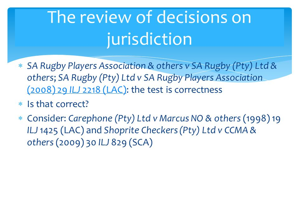The review of decisions on jurisdiction