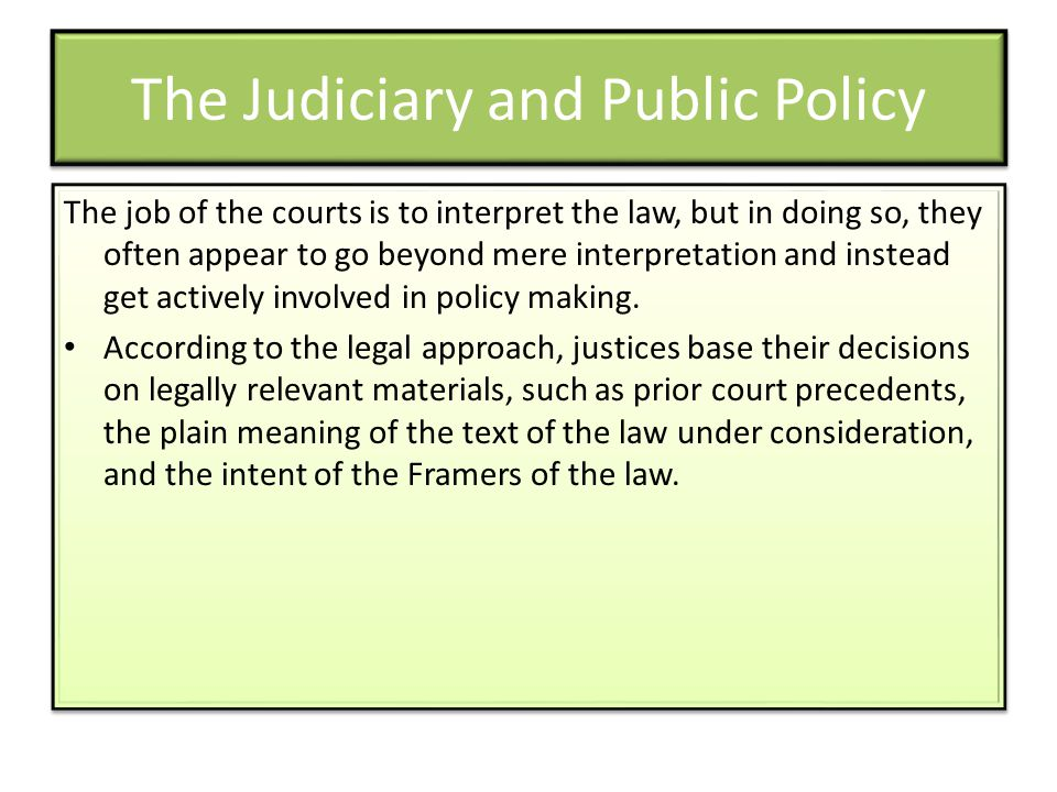 The Judiciary and Public Policy