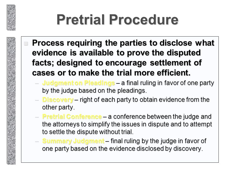 Pretrial Procedure