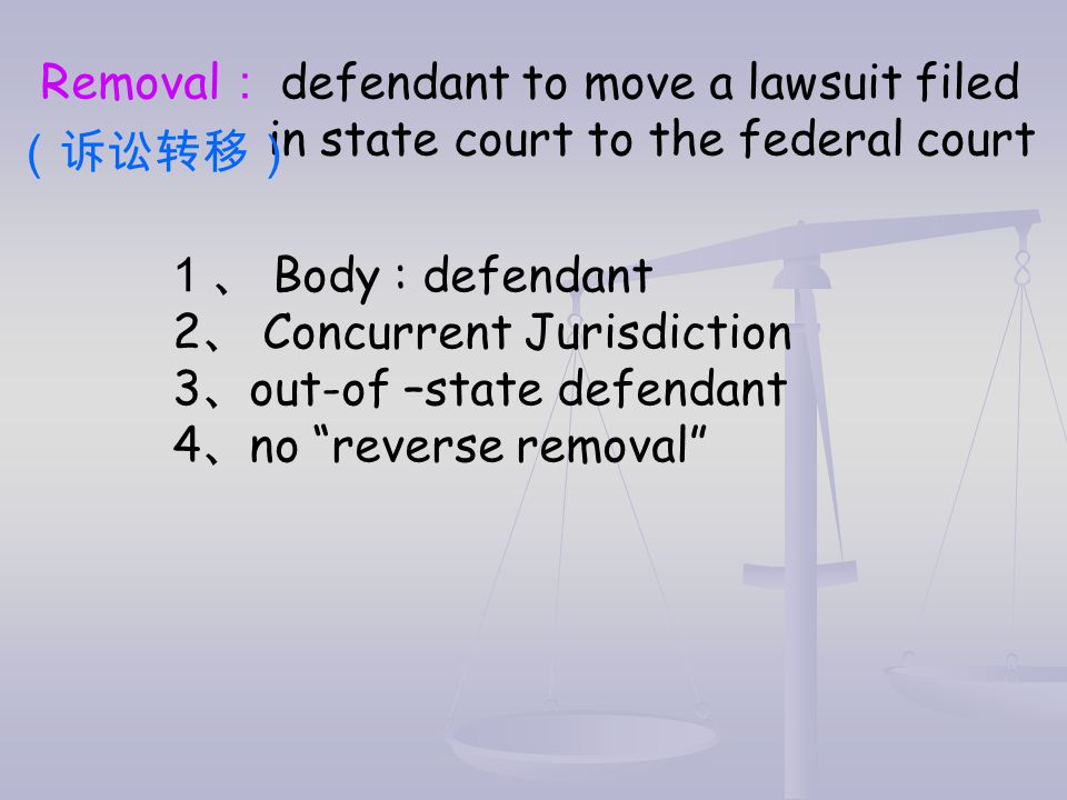 Removal: defendant to move a lawsuit filed