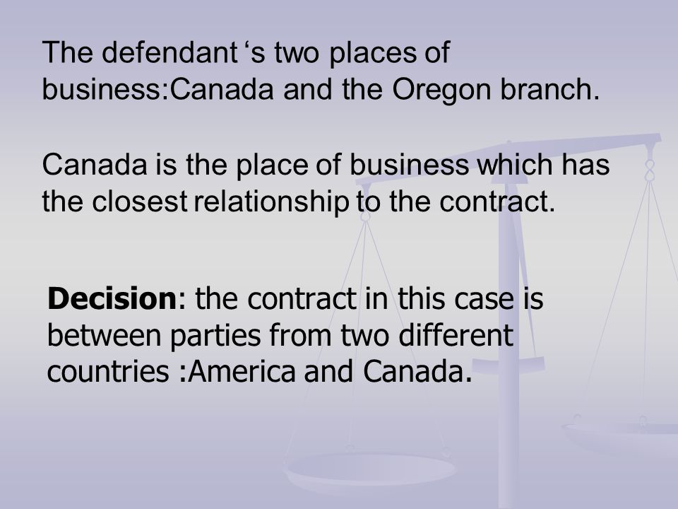 The defendant 's two places of business:Canada and the Oregon branch.