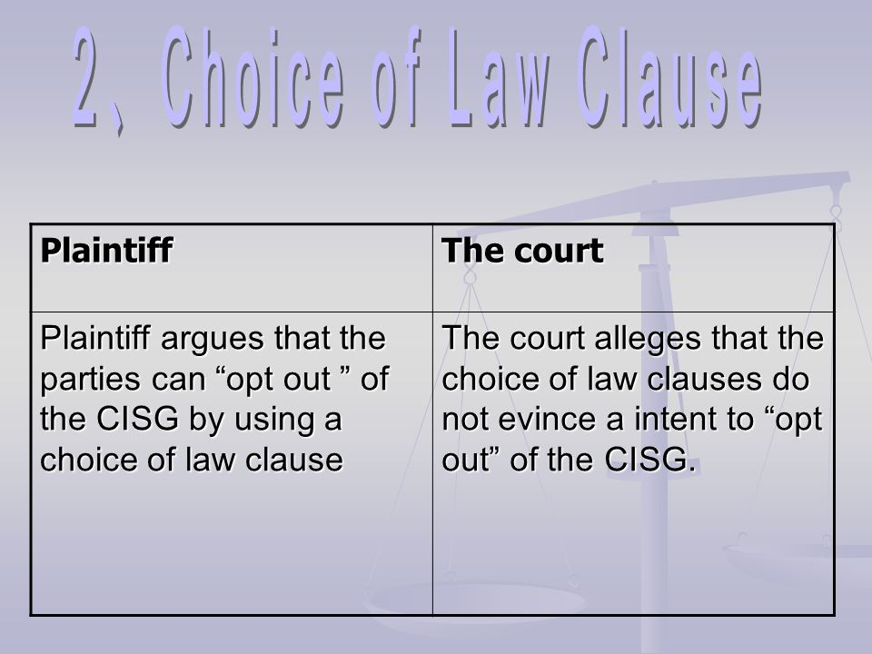 2、Choice of Law Clause Plaintiff The court