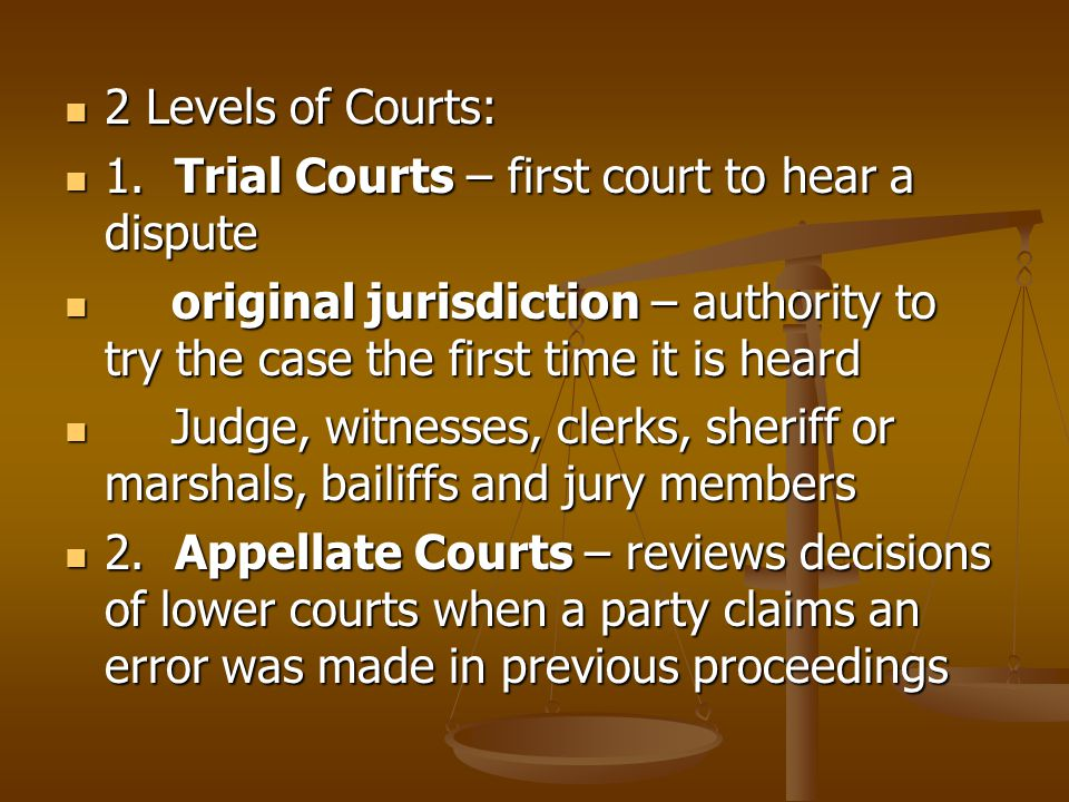 2 Levels of Courts: 1. Trial Courts – first court to hear a dispute. original jurisdiction – authority to try the case the first time it is heard.