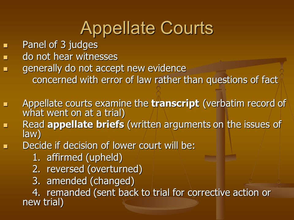Appellate Courts Panel of 3 judges do not hear witnesses