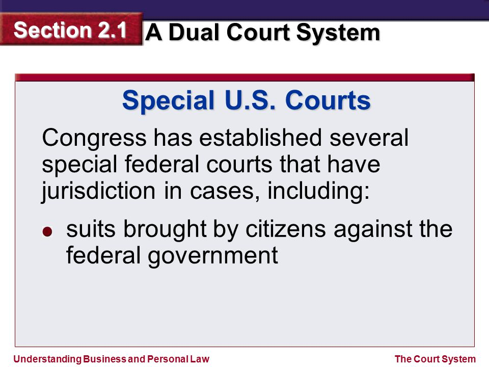 Special U.S. Courts Congress has established several special federal courts that have jurisdiction in cases, including: