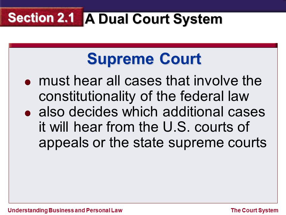 Supreme Court must hear all cases that involve the constitutionality of the federal law.