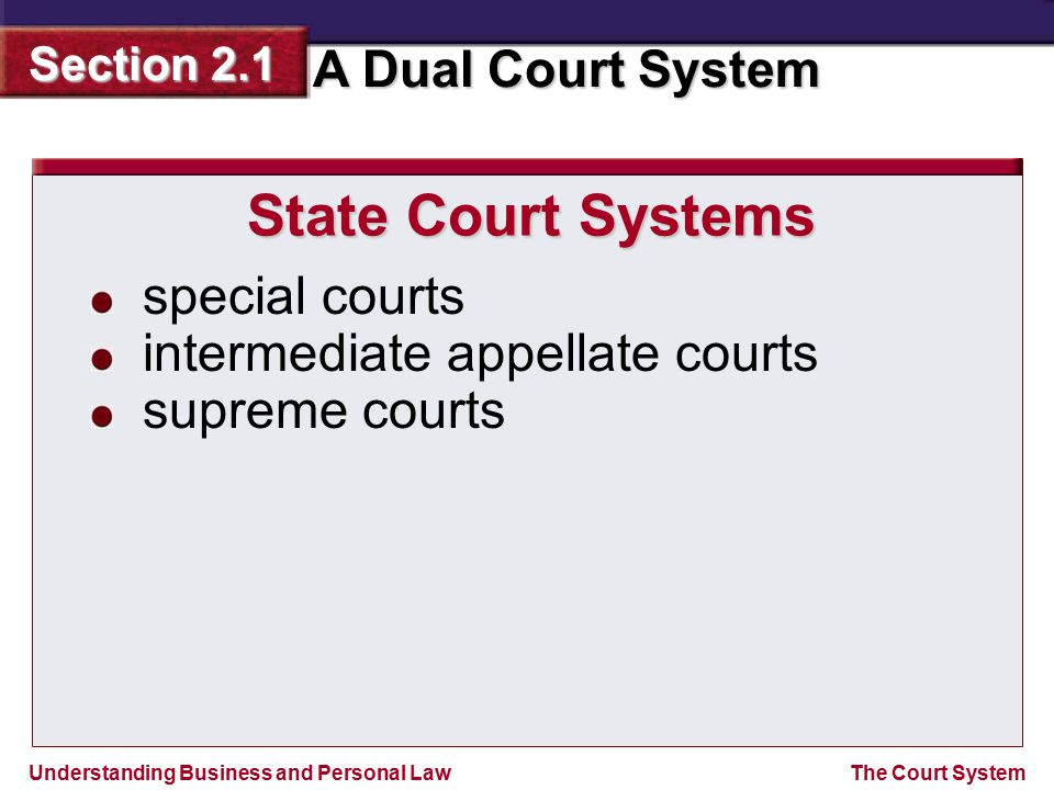 State Court Systems special courts intermediate appellate courts