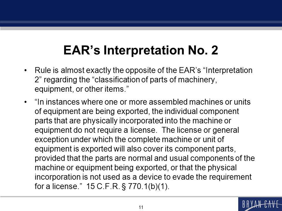 EAR's Interpretation No. 2