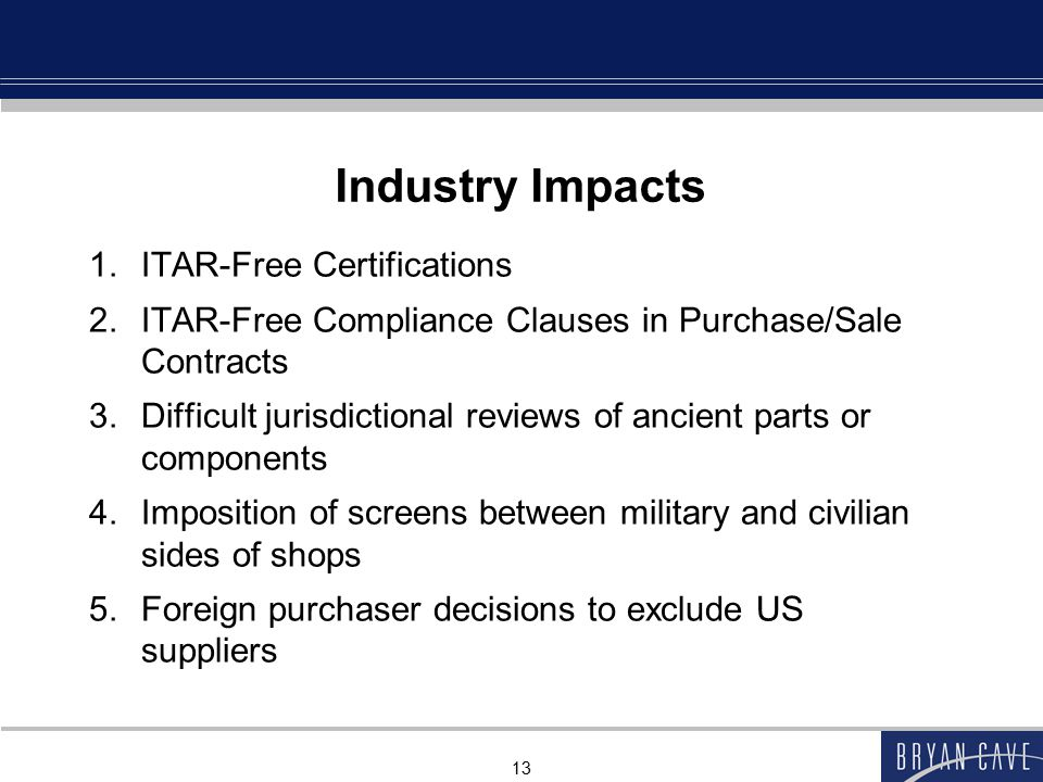 Industry Impacts ITAR-Free Certifications