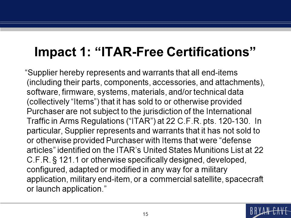 Impact 1: ITAR-Free Certifications